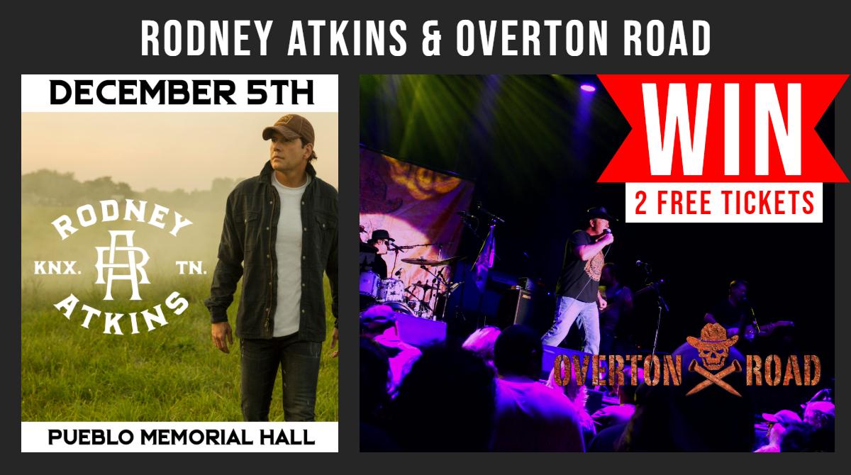 WIN 2 FREE Tickets to Rodney Atkins and Overton Road December 5th at Memorial Hall in Pueblo, Colorado.